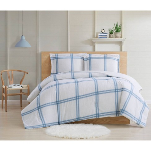 King 3pc Farmhouse Plaid Comforter Set - Cottage Classics - image 1 of 3