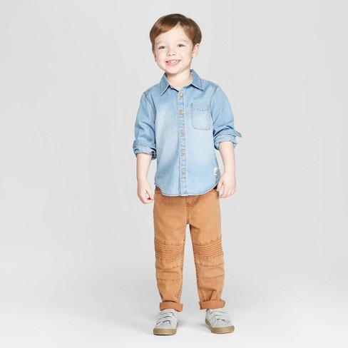 3bb47b61c Toddler Boys' Long Sleeve Chambray Button-Down Shirt - art class™ Blue.  Shop all Art Class