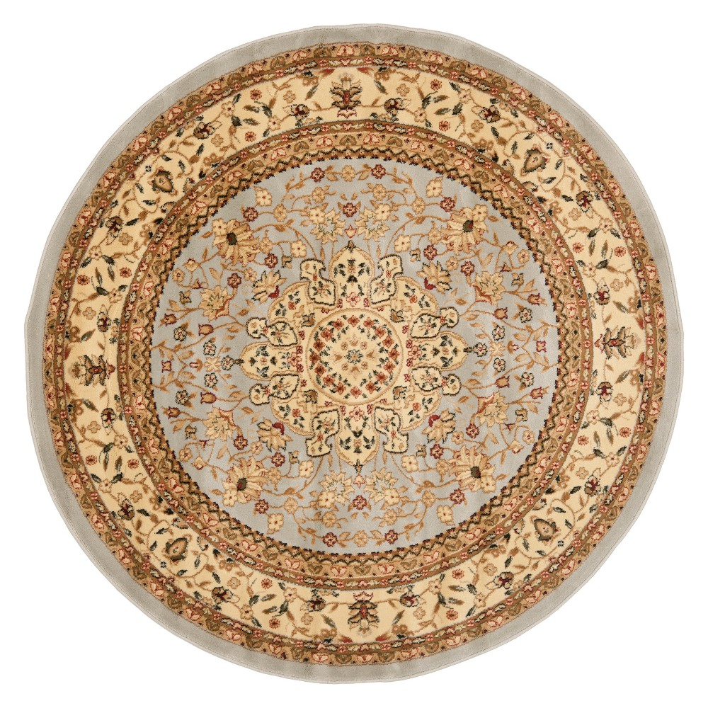 5'3 Floral Loomed Round Area Rug Gray/Beige - Safavieh