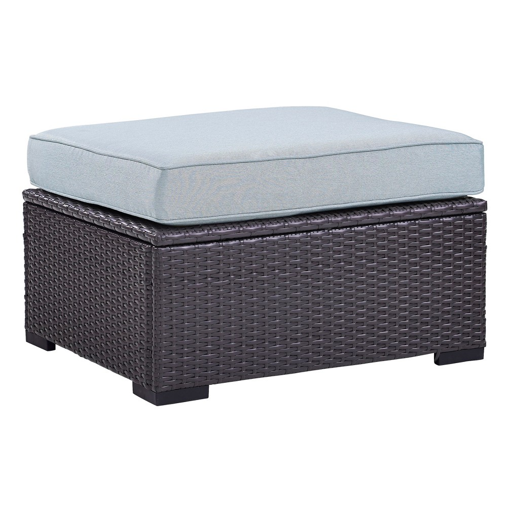Image of Biscayne Ottoman with Mist Cushions - Brown/Mist - Crosley
