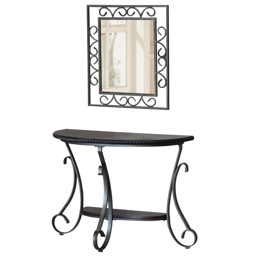 HSI Console Table And Mirror Metal Gray - Home Source Ind...