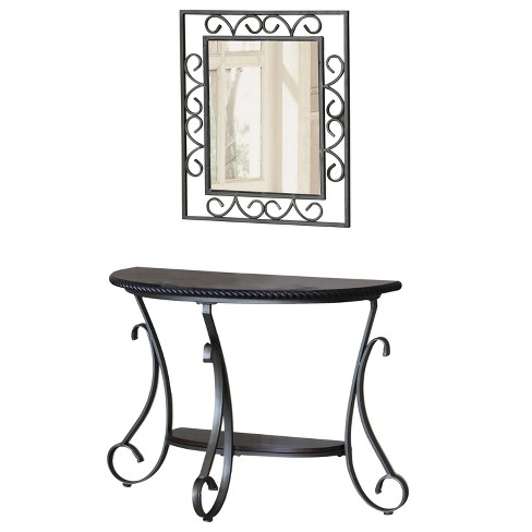 Console Table And Mirror Metal Gray - Home Source Industries - image 1 of 4