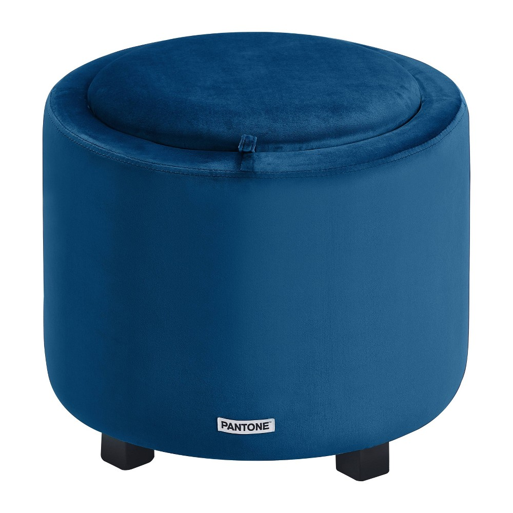 Image of Pantone Color Collection Short Storage Stool Dark Blue - Pantone