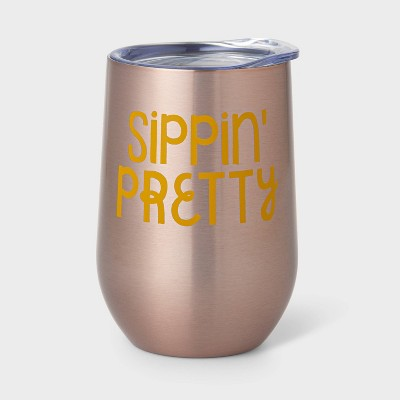 11oz Double Wall Stainless Steel Vacuum Wine Tumbler with Lid Sippin' Pretty Pink - Room Essentials™