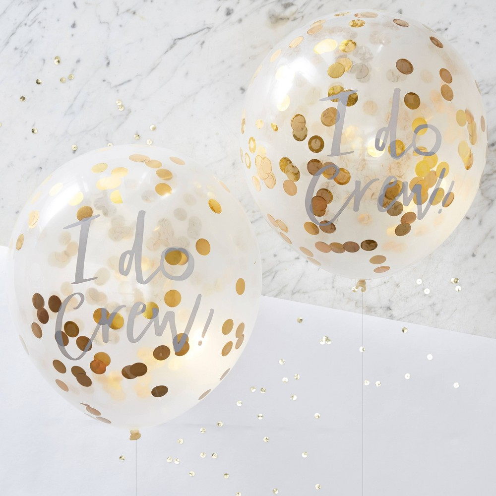 """Image of """"12"""""""" Confetti Balloons, Gold"""""""