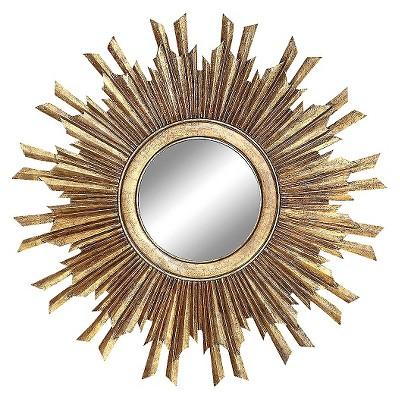"35.5"" Round Wood Sunburst Wall Mirror Gold Finish - 3R Studios"