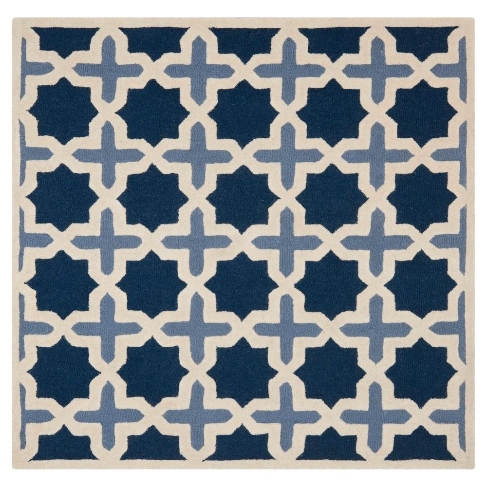 8'X8' Geometric Area Rug Blue/Ivory - Safavieh