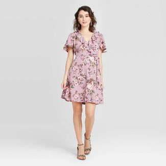 Women's Floral Print Short Sleeve Ruffle Wrap Dress - Xhilaration™ Lilac XS