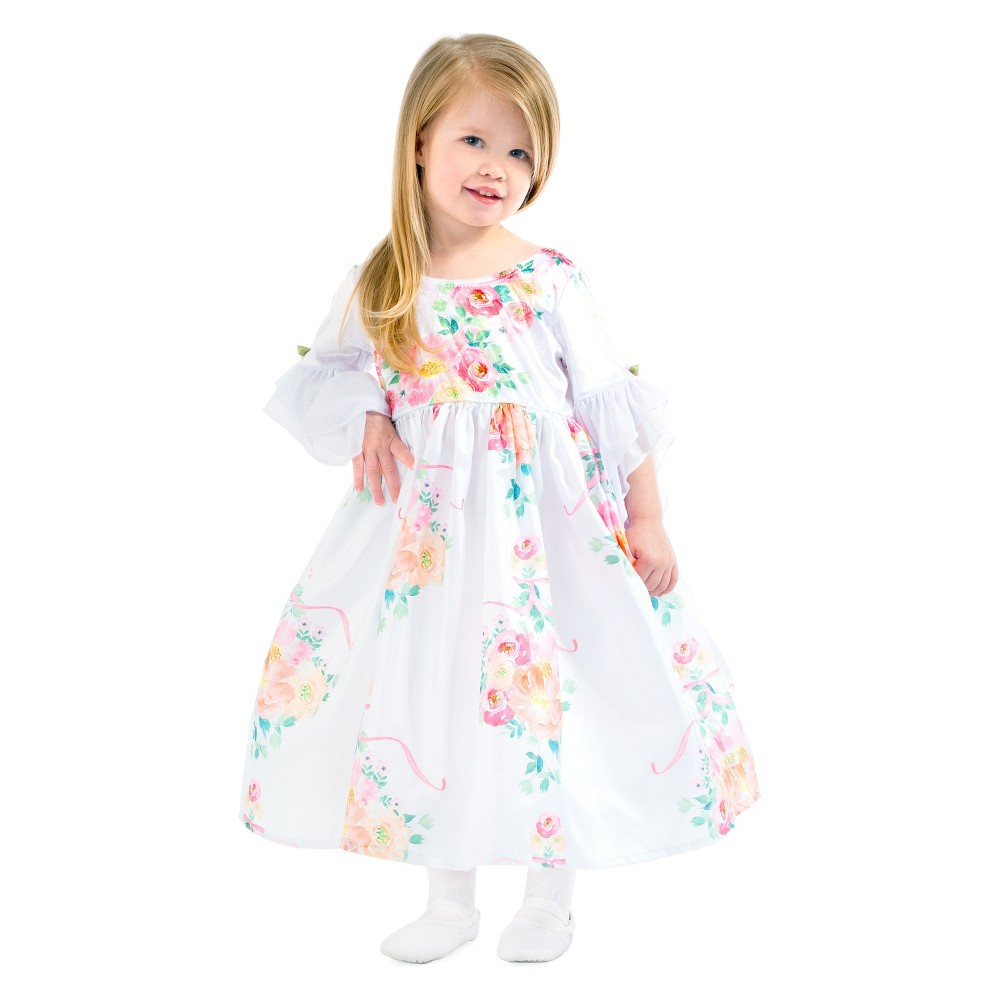Little Adventures White Floral Beauty Dress - Kid's Size S, Girl's