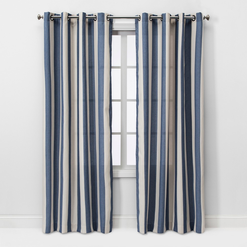 95x54 Cabana Stripe Light Filtering Curtain Panel Cream/Navy - Threshold was $34.99 now $17.49 (50.0% off)