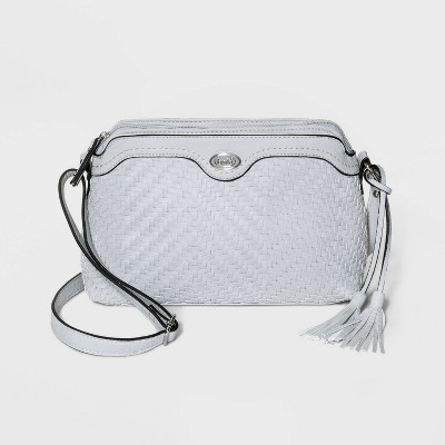 Bolo Zig Zag Woven Multi Compartment Crossbody Bag - Light Gray