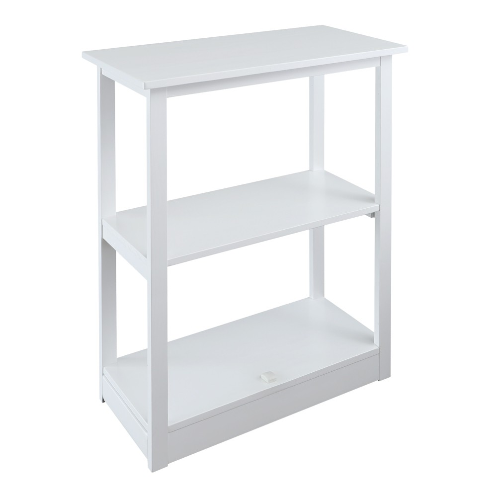 """Image of """"34"""""""" Adams 3 Shelf Bookcase with Concealed Sliding Track White - Flora Home"""""""