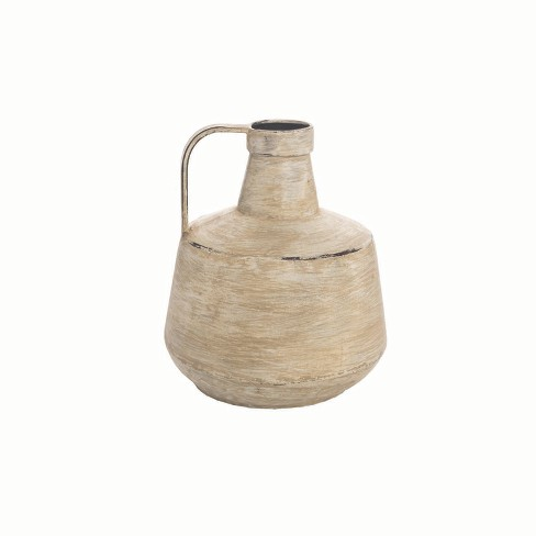 White Washed Metal Vase Wide - Foreside Home and Garden - image 1 of 1