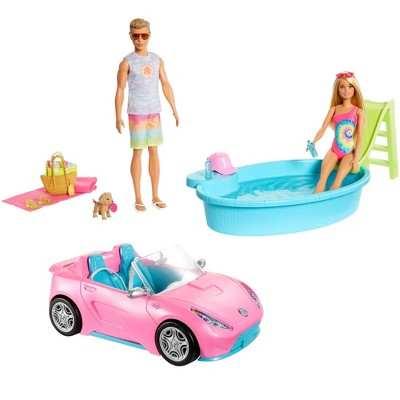 Barbie Pool & Convertible Bundle Playset