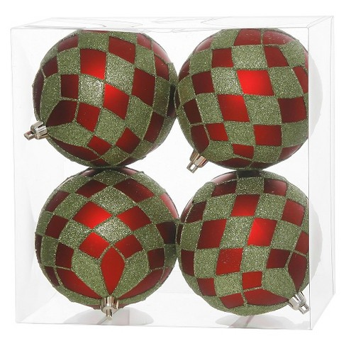 4ct Red/Green Diamond Glitter Diamond Christmas Ornament Set - image 1 of 1