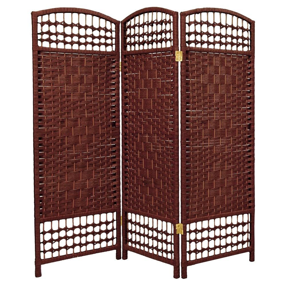 Image of 4 ft. Tall Fiber Weave Room Divider - Dark Red (3 Panels) - Oriental Furniture, Russet