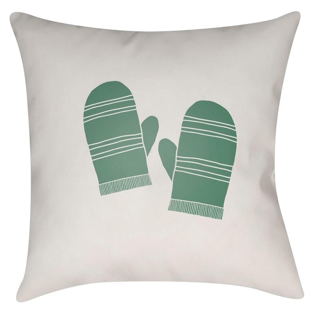 Green Mittens Throw Pillow 16