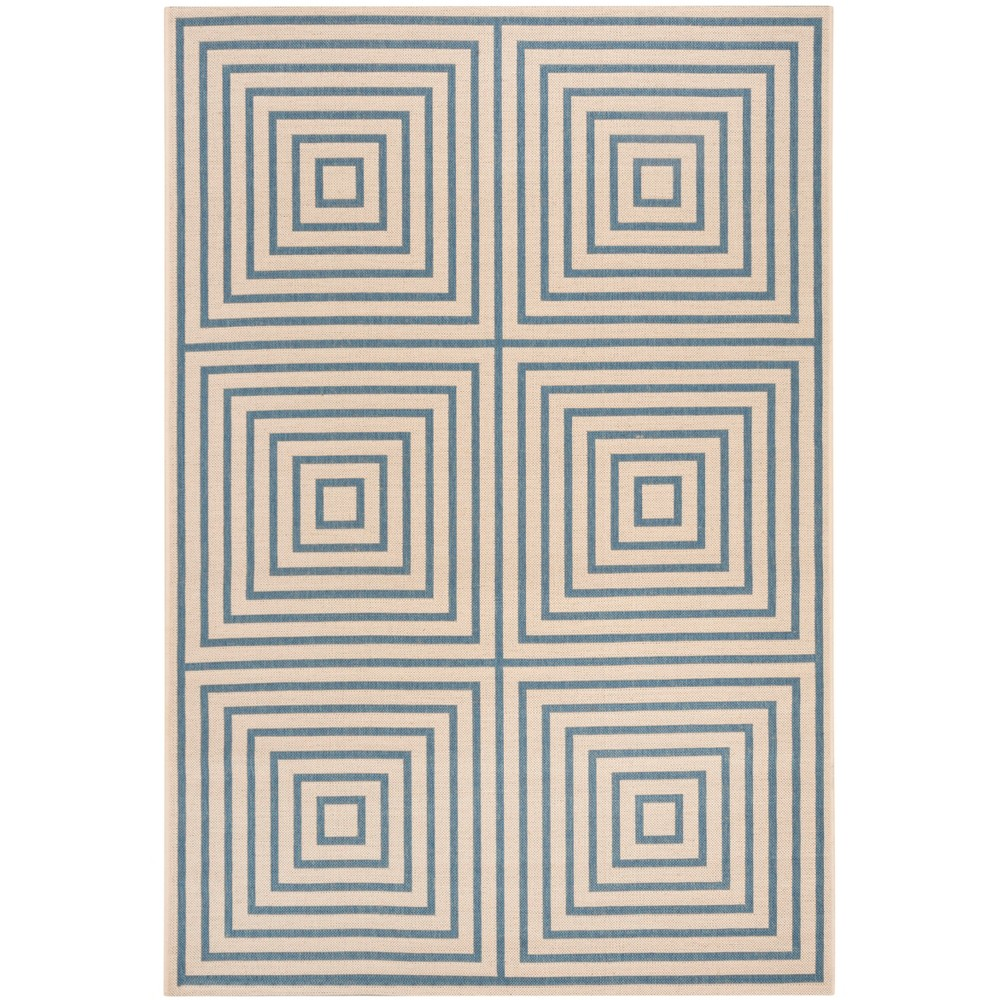 5 1 X7 6 Geometric Loomed Area Rug Cream Blue Safavieh