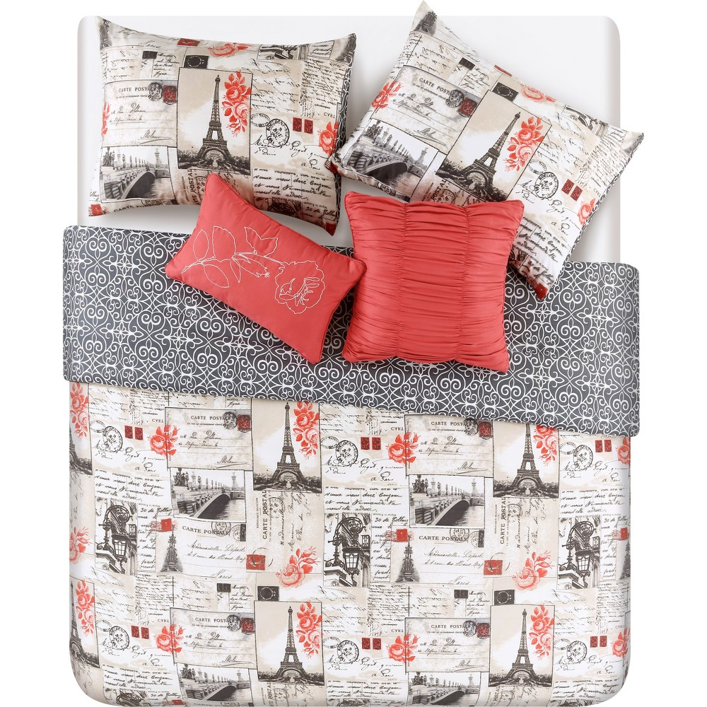 5pc King Jolie Paris Comforter Set Red/Ivory - Vcny Home, Red White