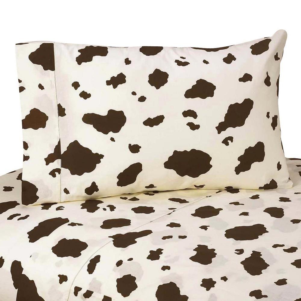 Twin Wild West Cow Print Tween Sheet Set - Sweet JoJo Designs, Brown Off-White