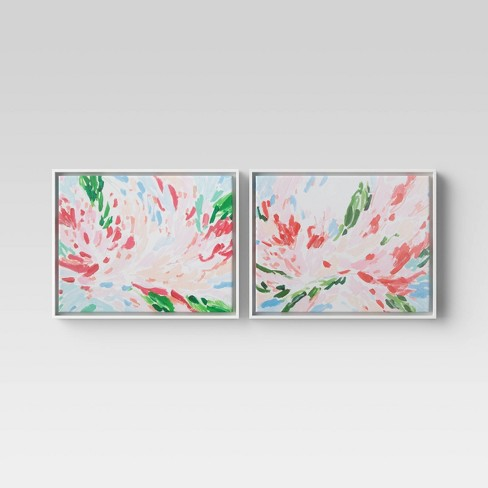 """(Set of 2) 20"""" x 16"""" Abstract Floral Framed Canvas - Opalhouse™ - image 1 of 4"""