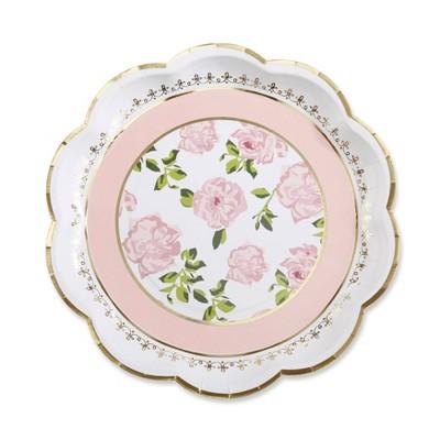 24ct Tea Time Premium Paper Plates Pink