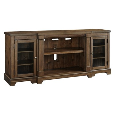 Flynnter Extra Large TV Stand with Fireplace Option Medium Brown - Signature Design by Ashley