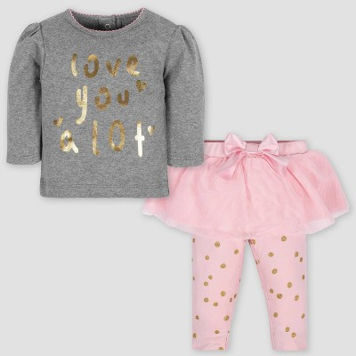 Gerber Baby Girls' 2pc Love Long Sleeve Shirt & Tutu Leggings Set - Gray/Pink 0-3M