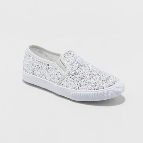 f635b95c0af0 Girls  Samora Slip On Glitter Sneakers - Cat   Jack™ Silver   Target