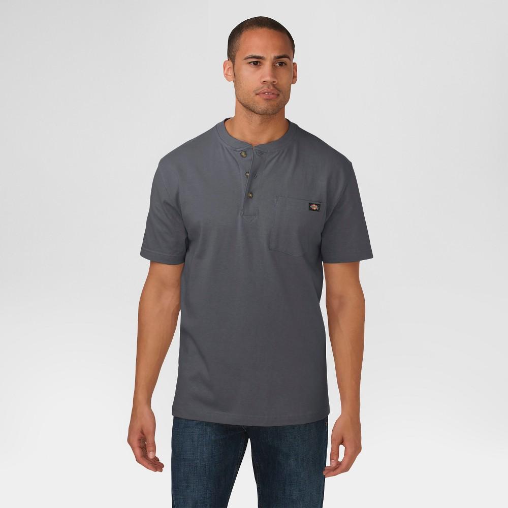 Dickies Men's Big & Tall Cotton Heavyweight Short Sleeve Pocket Henley Shirt- Charcoal (Grey) L Tall, Size: LT