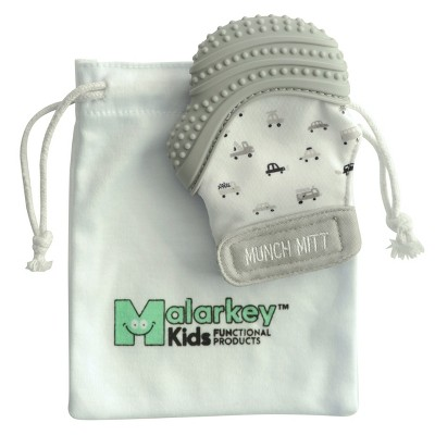 Malarkey Kids Munch Mitt Teether with Wash Travel Bag - Gray