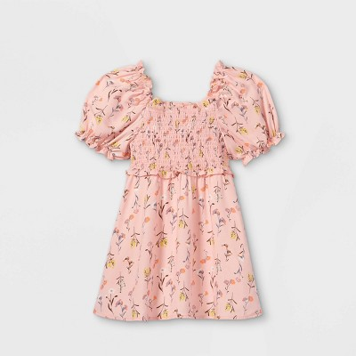 Toddler Girls' Floral Smocked Short Sleeve Dress - art class™ Light Pink