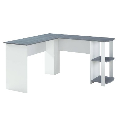 Modern L Shaped Desk with Side Shelves Gray - Techni Mobili