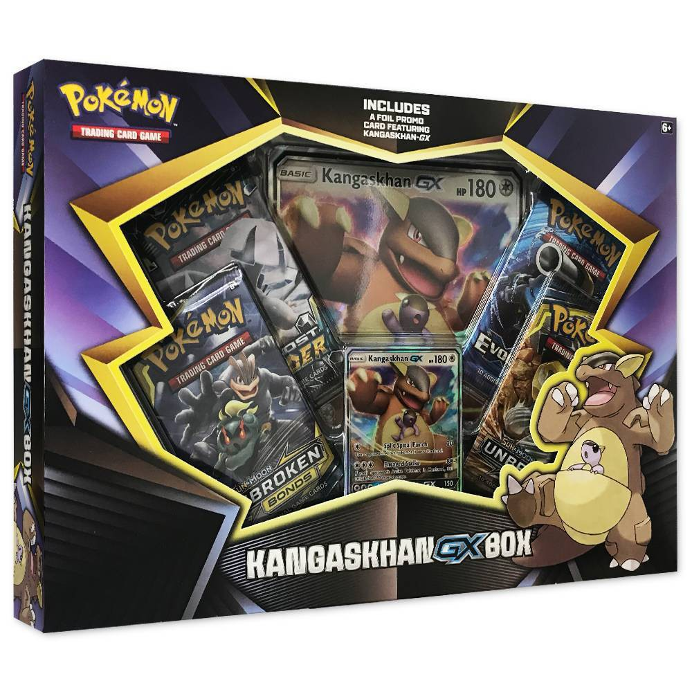 Pokemon Kangaskhan GX Box Battle it out with this Kangaskhan GX Box from Pokemon. From promo cards to booster packs, this Kangaskhan-GX card game pack combines the protective instinct and scrappy toughness of the Kangaskhan with the power of a Pokemon-GX for a winning combination. This GX card game box also comes with an online game code card that lets you take the battle to the digital world. A perfect pick for both kids and kids at heart, this Pokemon card game box makes a great collectible toy for all Pokemon fans. Gender: unisex.
