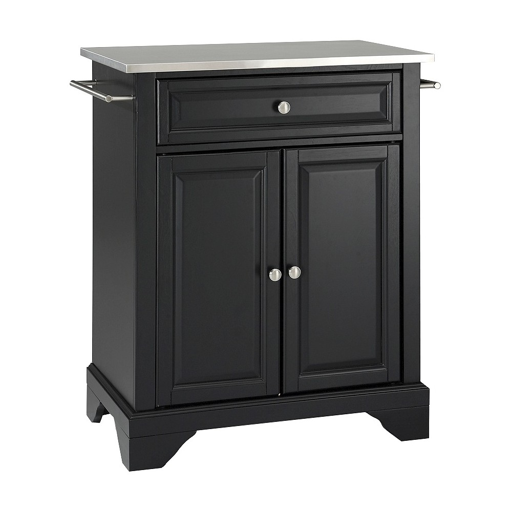 LaFayette Stainless Steel Top Portable Kitchen Island - Black - Crosley