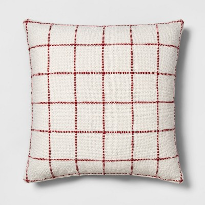 Reversible Woven Grid Oversize Square Throw Pillow Cream/Red - Threshold™