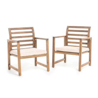 Emilano Set of 2 Acacia Wood Club Chair - Natural Stained - Christopher Knight Home