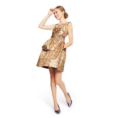 Women's Floral Print Sleeveless Brocade Mini Dress   Zac Posen For Target Yellow/Pink by Zac Posen For Target Yellow/Pink