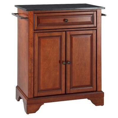 LaFayette Solid Black Granite Top Portable Kitchen Island Wood/Classic Cherry Finish - Crosley