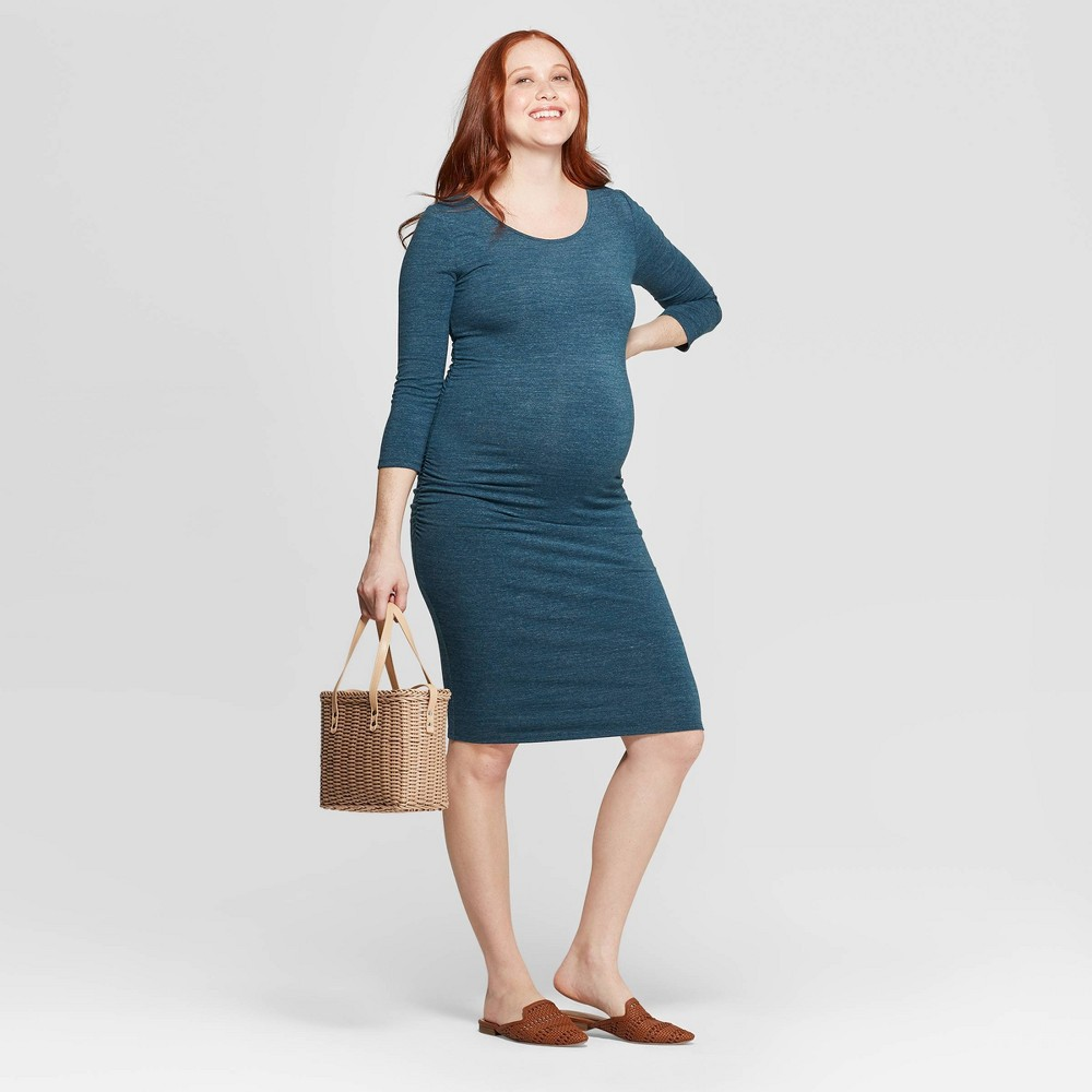 Image of Maternity 3/4 Sleeve Midi T-Shirt Dress - Isabel Maternity by Ingrid & Isabel Green Heather M, Women's, Size: Medium