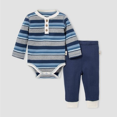 Burt's Bees Baby® Baby Boys' Organic Cotton Striped Foothills Bodysuit and Pants Set - Navy 9M