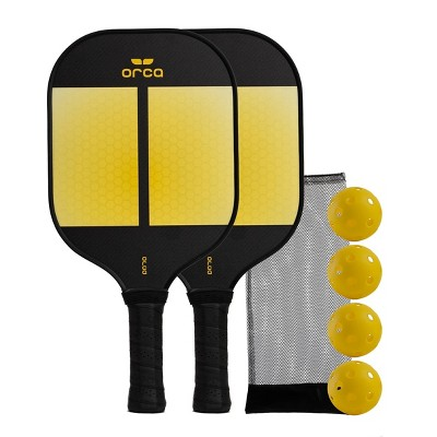 MD Sports Orca Amity Carbon Fiber Pickleball Paddle Deluxe Combo Set - Yellow/Black