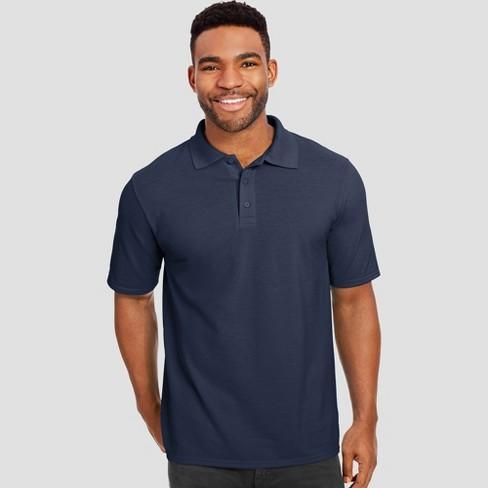 Hanes Men's Big & Tall X-Temp Performance Pique Polo Short Sleeve Shirt - Navy 4XL