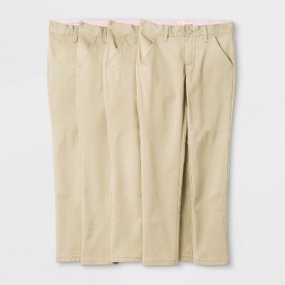 Girls' 4pk Flat Front Stretch Uniform Skinny Pants - Cat & Jack™ Light Beige