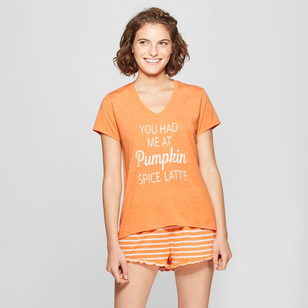 Grayson Threads Women's T-Shirt and Shorts Pajama Set - Orange L