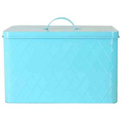 Tin Metal Bread Box Blue - Home Basics