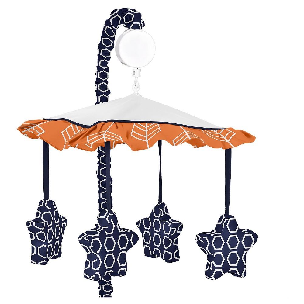 Sweet Jojo Designs Orange & Navy Arrow Musical Mobile - Orange