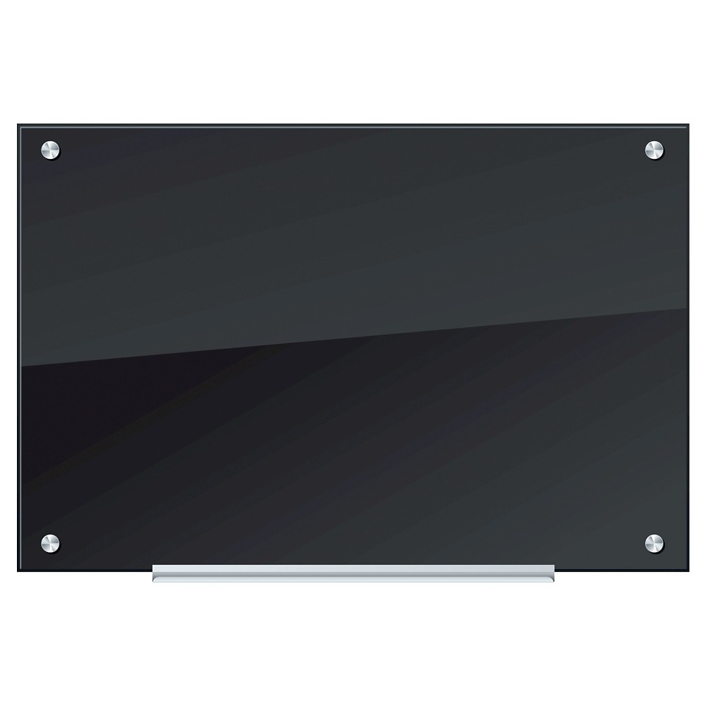 U Brands Frosted Glass Black Dry Erase Board, 35 x 23 - Frameless, Frosted/Silver