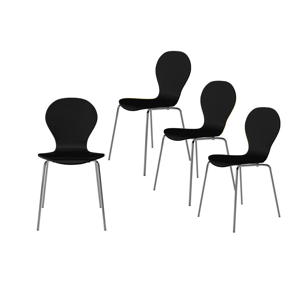Set Of 4 Saladin Mid Century Modern Armless Dining Chairs Black Handy Living