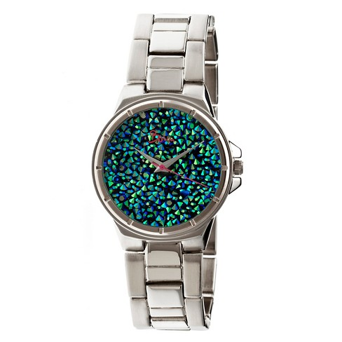 Women's Boum Cachet Watch with Custom Stone-Inlaid Dial-Silver/Green - image 1 of 3